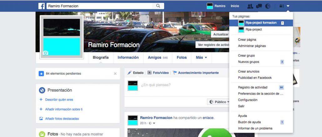 cambiar el perfil personal de una página de Facebook