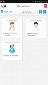 Aplicación cita previa sanitaria en móvil android