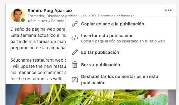 Compartir en Linkedin actualizaciones de proyectos diseño gráfico y web
